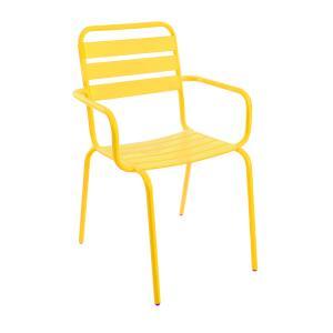 Stablestol Frøya m/armlene stål gul